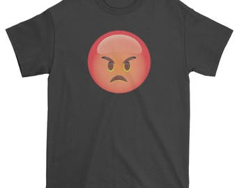 Color Emoticon - Red Angry Face Smile Mens T-shirt