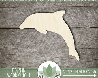 Wood Dolphin Shape, Unfinished Wood Dolphin Laser Cut Shape, DIY Craft Supply, Many Size Options, Blank Wood Shapes