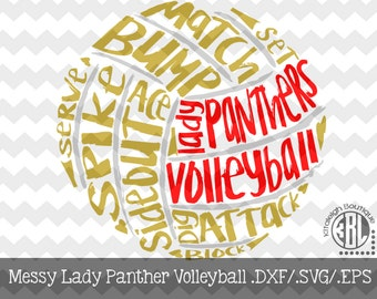 Messy Lady Panthers Volleyball Files INSTANT DOWNLOAD in dxf/svg/eps for use with programs such as Silhouette Studio and Cricut Design Space