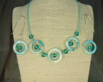 Turquoise Abalone shell and Apatite necklace with matching earrings