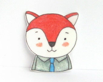 Fox with Tie Brooch. Fox pin.
