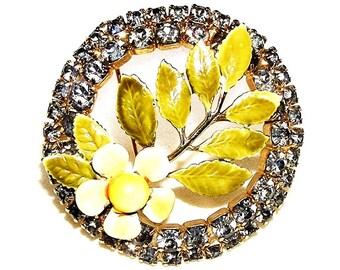 Hobe Yellow Enamel and Gray Rhinestone Floral Brooch
