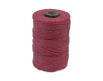 Irish Waxed Linen Thread Fuchsia Pink 43668 (50gr, 100yds), Crawford Irish Waxed Linen Cording, 4-Ply Waxed Linen, Linen Jewelry Cord