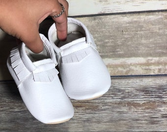 White Moccs- Baby Moccs- Baby Moccasins by TexasMoccs