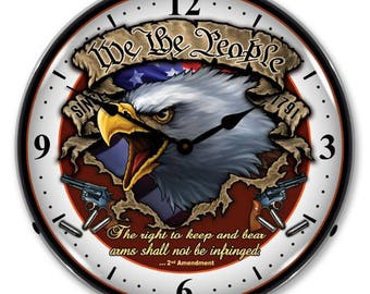 """Antique Style """" We the People """" Backlit Clock"""