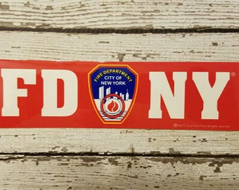 FDNY Full sized Bumper Sticker New York Fire Department shield OFFICIALLY LICENSED