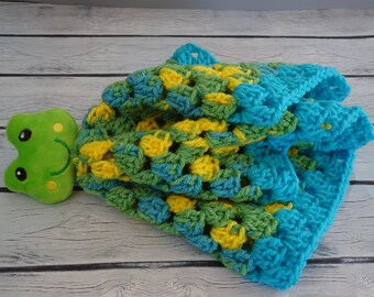 Frog Baby Lovey Blanket, Baby Security Blanket, Gift For Baby, Baby Shower Gift, Toddler Gift, Crochet Baby Blanket, Christening Gift
