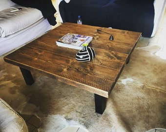 Coffee table square 100 cms x 100cms black feet