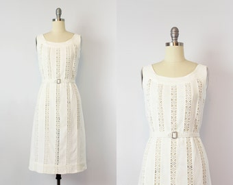 vintage 50s linen dress / 1950s white linen wiggle dress / crochet lace dress / summer wedding dress / Last Summer dress