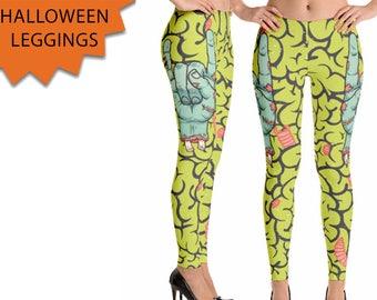 Zombie Leggings - Halloween Leggings - Brains Leggings - Spooky Halloween Leggings