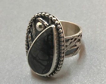 Picasso Jasper Ring, Hand Fabricated, Hand Sawcut Silversmith Wide Band, Black Stone, Tree and Bird Theme, By the Light of the Silvery Moon