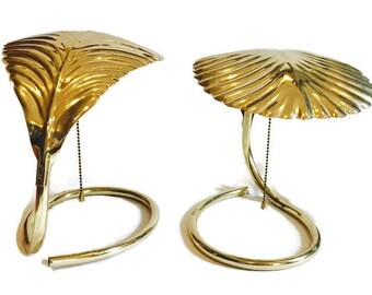 Mid Century Modern Lamp PAIR Palm Leaf Frond Cobra Table Lamps Hollywood Regency Modern Barbi Style Cobra Lamps Table Lamp Gold Tone Palm