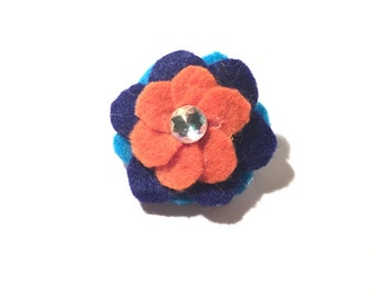 Handmade Orange, Navy, and Cerulean 1.75in Felt Flower Pin