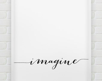printable 'Imagine' wall art // inspirational instant download print // printable typographic poster // minimalistic print