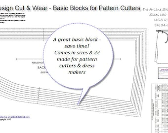 Basic A-Line Skirt Block- Ideal For Pattern Cutters - UK, US and Eu Sizing - Plus Detailed Measurements Supplied- Pattern Cutting Sloper