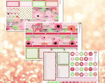 April Monthly Kit, March Monthly View Sticker Kit for Erin Condren Life Planner - 105 stickers!