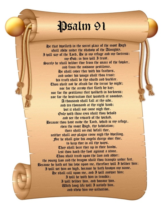 Psalm 91 KJV poster. A1 huge Bible poster 23.4 x 33.1 inches