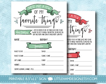 Printable Teacher's Favorite Things, Few of My Favorite Things Teacher Questionnaire Survey, Gift Letter, Appreciation [digital 8.5x11]