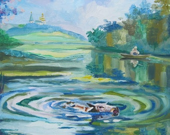 Picture Art Original Oil Painting River Summer Cow Boat Fisherman Landscape