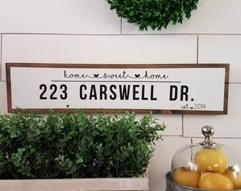 Custom Address Sign-Housewarming Gift-Realtor Gift-Personalized Wood Sign-Home Sweet Home-Vinyl Letters-First Home Gift-New House Gift-