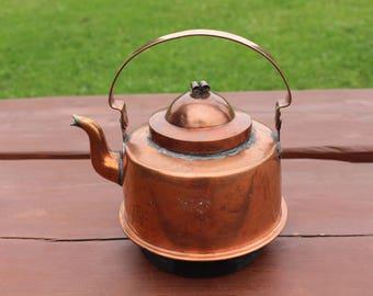 Copper kettle Antique Swedish copper hot water kettle 2 Litres Copper tea kettle Copper kitchen decor Scandinavian vintage