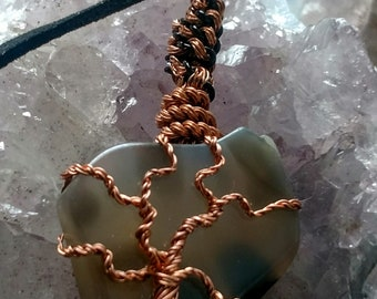 Polished Agate Slice w Copper Tree of Life