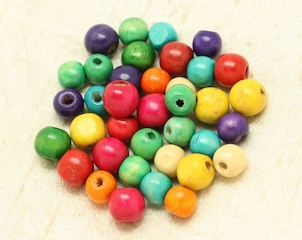 10pc - balls 12mm multicolor 4558550000194 wood beads