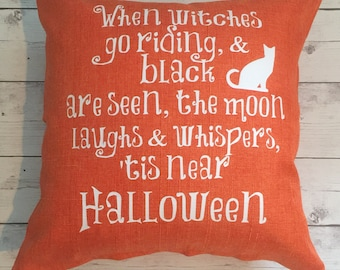Orange Halloween pillow cover, halloween decor, October