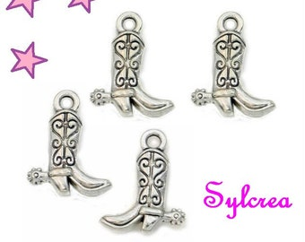 4 charms WESTERN 17 x 12 mm riding boot silver metal cowboy
