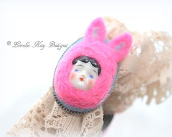 Bunny Girl Needle Felted Ring Art Doll Jewelry Sugary Sweet Assemblage Art Doll Ring Lorelie Kay Original