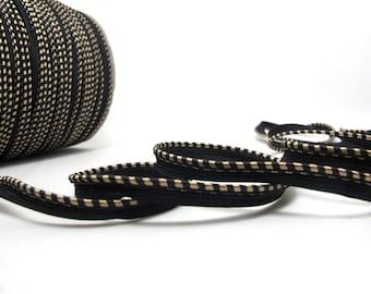 5 Yards 3/8 Inch Black and Brown Satin Lip Cord Trim|Piping Trim|Pillow Trim|Cord Edge Trim|Upholstery Edging Trim