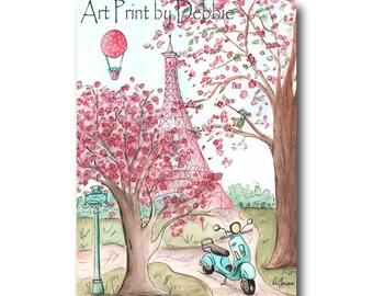 Pink Paris Bedroom Decor, Eiffel Tower, Cherry Blossom Trees, Vespa Scooter, Paris Girl Nursery Decor, Paris Watercolor Print, 5x7 to 24x36