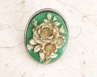 Vintage Tarina Tarantino Large Rose Green Cameo Ring Adjustable Silver Ring Jewelry