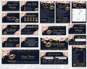 LipSense Marketing Kit, LipSense Marketing Bundle, Navy and Gold LipSense Business Cards, LipSense Printables, LipSense Digital Files LSS01