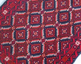 "5' 6"" x 2' 10"" Vintage hand knotted Persian Gabbeh rug with diamond geometric pattern - burgundy red, dark blue, off-white"