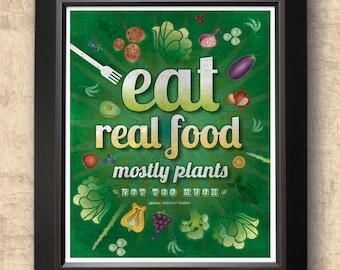 vegetarian art, kitchen decor, typographic print, farmers market art, food decor, organic food art, healthy eating decor  8 x 10 print