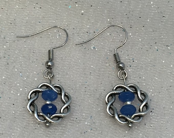 Earrings Blue and Silver
