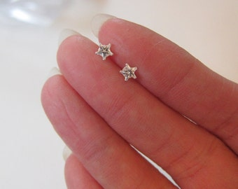 Tiny Sterling Silver Clear CZ Star Stud Earrings, tiny Stud Earrings, Everyday Jewelry