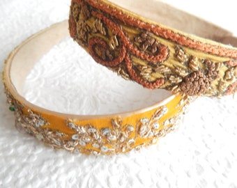 Mustard gold beaded embroidered headbands,  1 inch