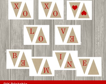 Valentine Burlap Banner, Be Mine, Set of Three, Decoration, Garland, Printable, DIY, INSTANT DOWNLOAD