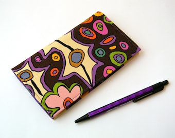 Hippie Fabric Checkbook Cover with Pen Holder Duplicate Checkbook Holder Bright & Colorful Fabric Checkbook Register Coupons Holder