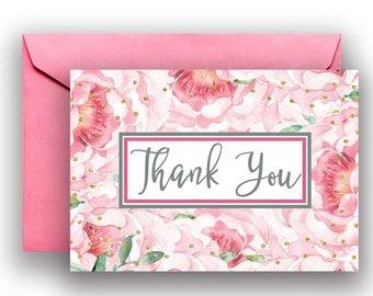 Wedding Thank You Notes, bridal thank you notes, thank you card, bridal thank you, floral thank you, pink thank you, B800