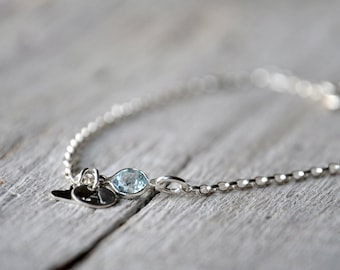Charms Bracelet Sterling Silver, topaz, sky blue, initials, heart shape charm and handmade or commercial clasp.
