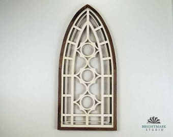 Wooden Window Frame Art - Faux Vintage Home Decor ~ Feature Wall Steampunk Decor Medieval Decoration & rustic window frame Art PN 0481