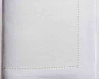 "50 hemstitch linen napkins in white color, 50x50 cm (20""x20"")"