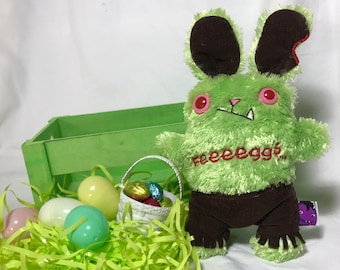 Monster Zombie Easter Bunny Basket - Green