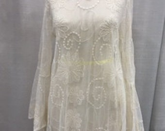 Romantic French vintage type white lace over blouse  .