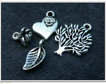 Set of 6 different charms silver plated 8-20mm beads