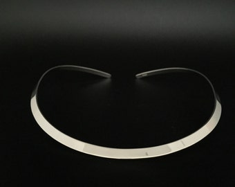 6mm Wide Gage Flat Silver Choker // 925 Sterling Silver // 16 Inches // Contoured To Fit