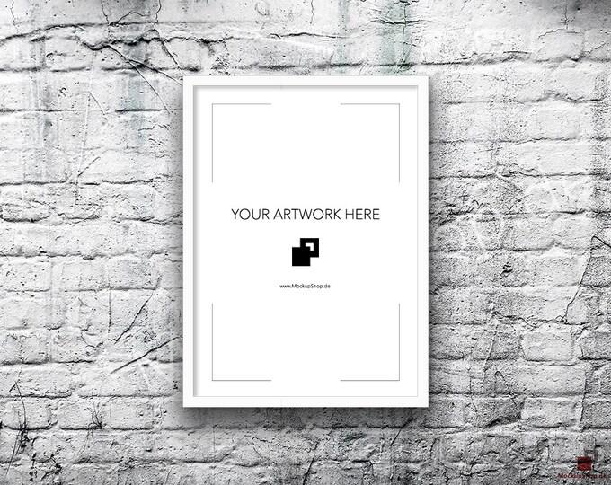5x7 10x14 Vertical Digital WHITE FRAME MOCKUP, Styled Photography Poster Mockup, old White Brick Background, Framed Art, Instant Download